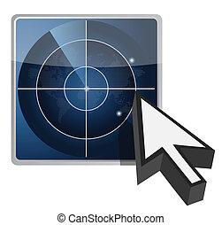 blue radar button illustration
