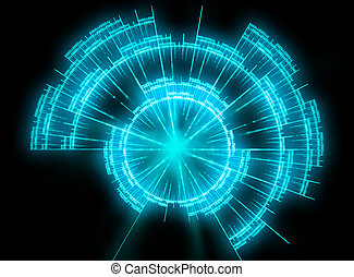 blue Radar illustration - blue glowing radar illustration
