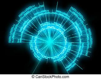 blue Radar illustration - blue glowing radar illustration