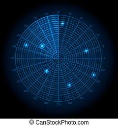Blue radar screen. Vector illustrat