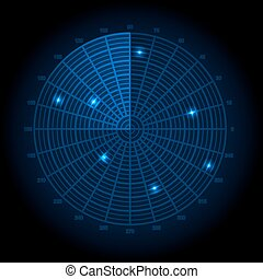 Blue radar screen. Vector illustrat