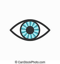 Blue Radiant Eye Icon with Dark Lining, isolated