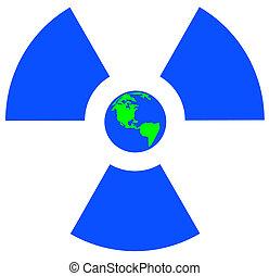 blue radio active symbol with earth