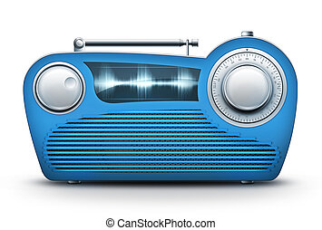 Blue Radio - Old Style Radio on the White background....