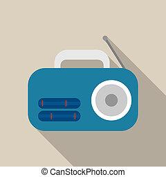 Blue radio icon, flat style