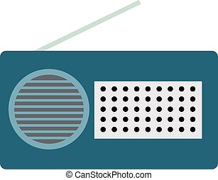 Blue radio, illustration, vector on white background.