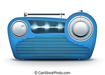 Blue Radio - Old Style Radio on the White background. ...