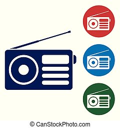 Blue Radio with antenna icon isolated on white background. Set color icon in circle buttons. Vector Illustration