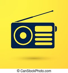Blue Radio with antenna icon isolated on yellow background. Vector Illustration