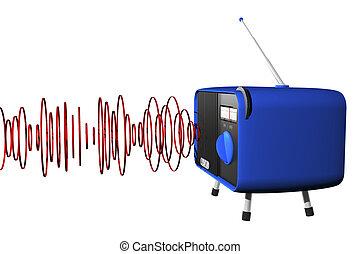 Blue radio with waves