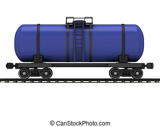 Blue railroad tank wagon