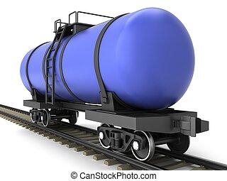 Blue railroad tank wagon