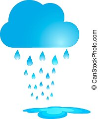 Blue Rain Cloud Vector Illustration. Rain and  puddle