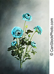 Blue Ranunculus - Digital painting of beautiful blue ...