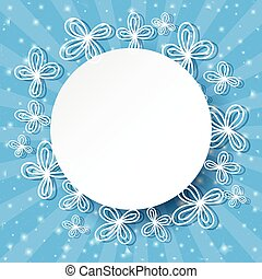 Blue rays background with abstract white flowers and place for text.