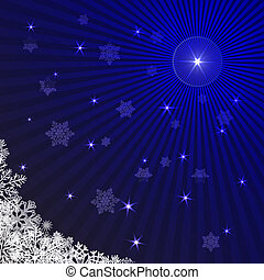 Blue rays Christmas background with snowflakes.