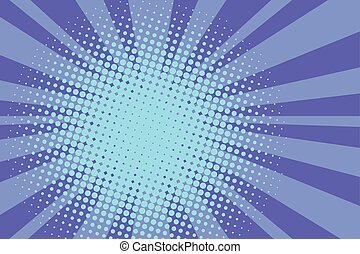 Blue rays retro comic pop art background