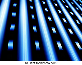 Blue rays - Blue dynamic rays over black background, Mesh...