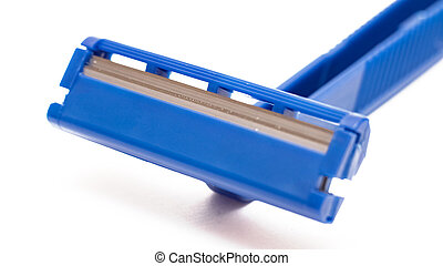Blue razor blade isolated on a white background