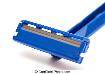 Blue razor blade on a white background