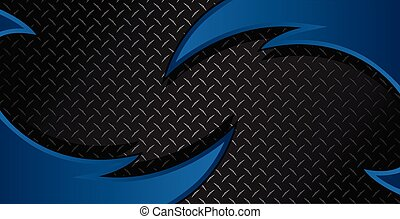 Blue Razor Diamond Plate Textured Vector Background Illustration
