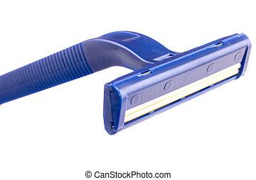 blue razor isolated on white background