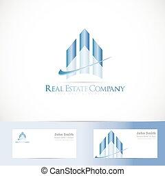 Blue real estate logo design