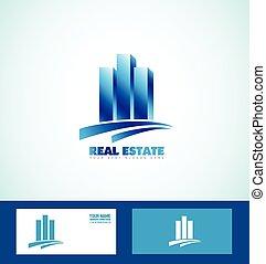 Blue real estate logo icon