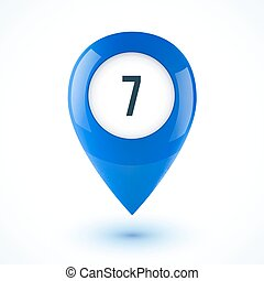 Blue realistic 3D vector glossy map point symbol
