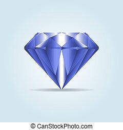 Blue realistic diamond, jewelry, gemstone with shadow