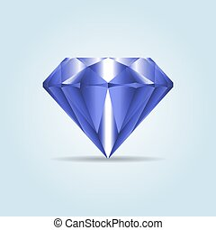 Blue realistic diamond, jewelry, gemstone with shadow