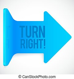 Blue realistic plastic turn right vector arrow