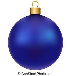 Blue realistic shiny christmas ball, isolated on white background, vector illustration