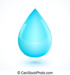 Blue realistic vector water drop isolated on white