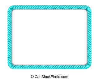 Blue rectangle rope frame - Rectangle frame made up ??of...