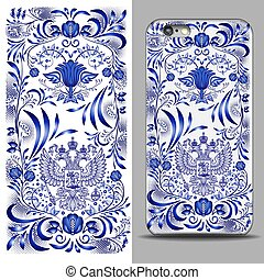 Blue rectangular vertical pattern with a two-headed eagle and phone cover. Reverse side of smartphone. Decor for design. Mock up with an example isolated on Gray background.