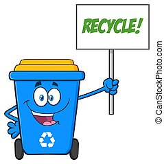 Blue Recycle Bin Cartoon Mascot Character Holding Up A Recycle Sign