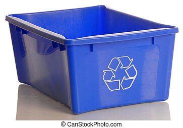blue recycle bin isolated on a white background