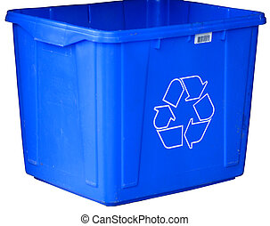 blue recycle bin isolated on white background