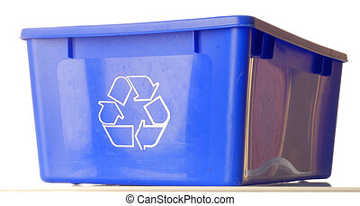 blue recycle bin isolated