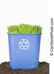 Blue Recycling Bin with Grass