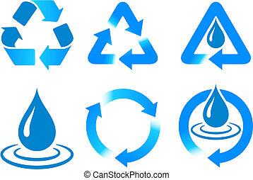 Blue Recycling Original Vector Illustration Nsture Concept