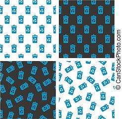 Blue Recycling Trash Can for Paper Waste Aligned & Random Seamless Pattern Set