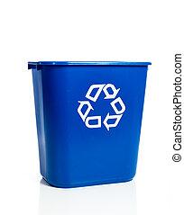Blue recylcing bin on white