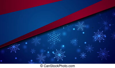 Blue red abstract Christmas snowflakes video animation