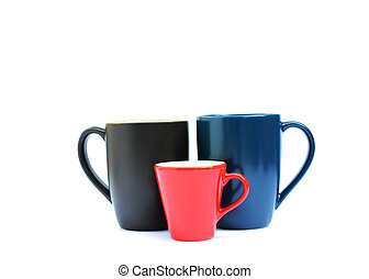 Blue, red and brown color of Tree cups on white backgrounds