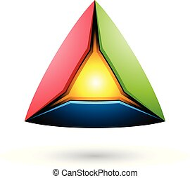 Blue Red and Green Pyramid with a Glowing Core Vector Illustration
