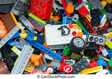 Blue, red and yellow tow bricks background - Lego...