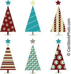 Blue – red christmas tree icon set - Retro christmas trees...