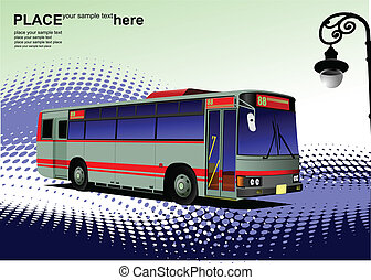 Blue-red city bus. Coach. Vector il